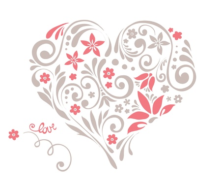 hearts and flowers: Floral heart with swirls