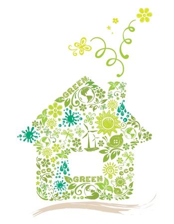 modern huis: Groen huis