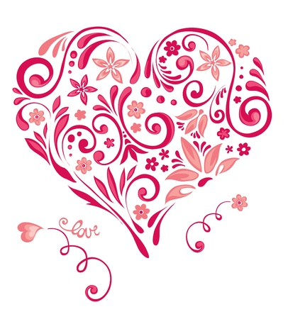 Abstract floral heart  Illustration