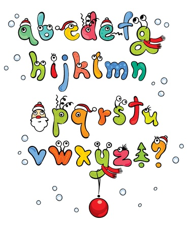 funny christmas alphabet  Vector
