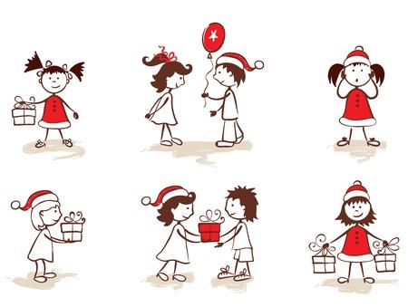 christmas party people: set -- children & christmas  Illustration