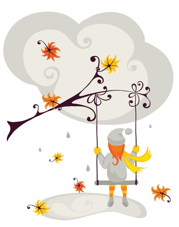 rain cartoon: autumn has come  Illustration