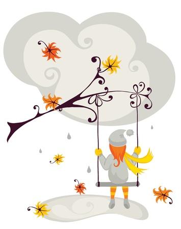 rain background: autumn has come  Illustration