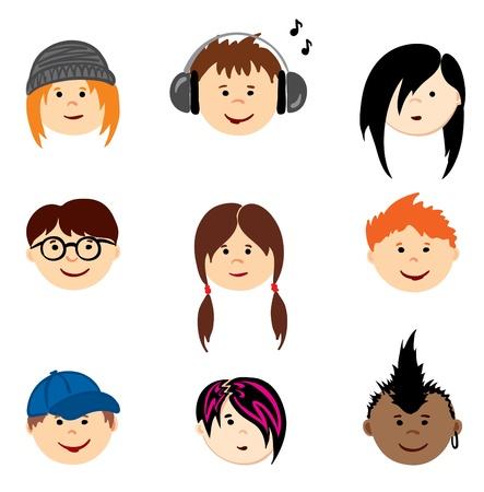 ansikten: färg avatars - tonåringar Illustration