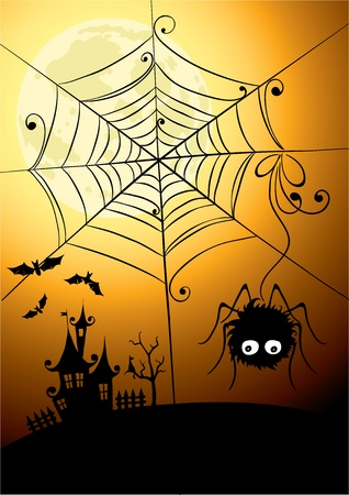 silouette: Background - the spider and the full moon  Illustration