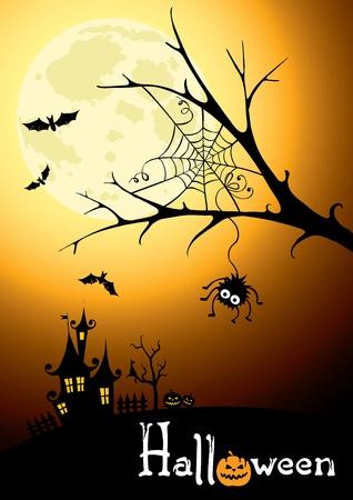 Background - postcard for Halloween  Vector