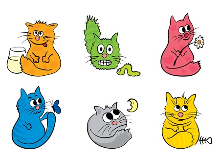 A set of funny cats  Vector