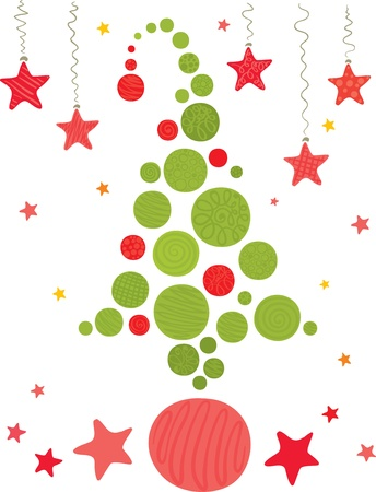congratulations sign: Merry Christmas tree from a ball  Illustration