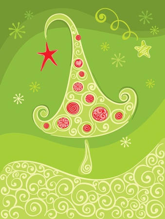 Green christmas background with tree  Stock Vector - 10877263