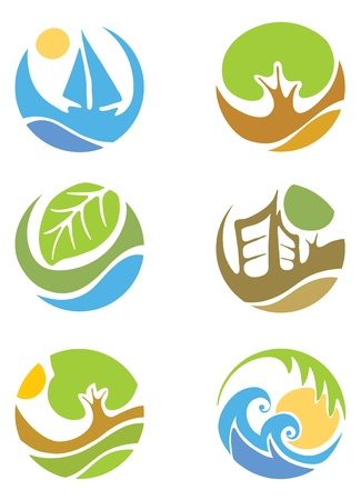 The icons on the theme of the summer and Tourism  Vector
