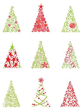 silhouette arbre hiver: Jeu d'arbres de No�l moderne