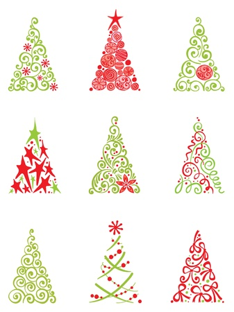 Set of modern christmas trees