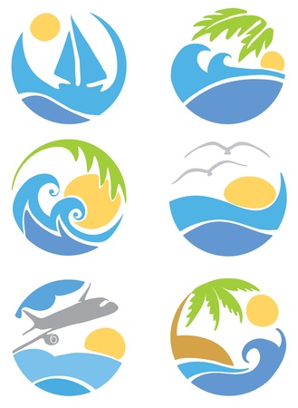 resorts: Set icons -- travel & vacation  Illustration