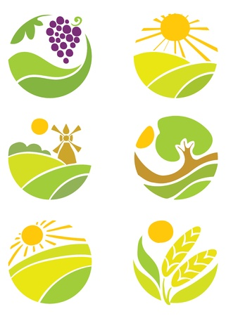 abstract mill: Collection of logos - Agriculture