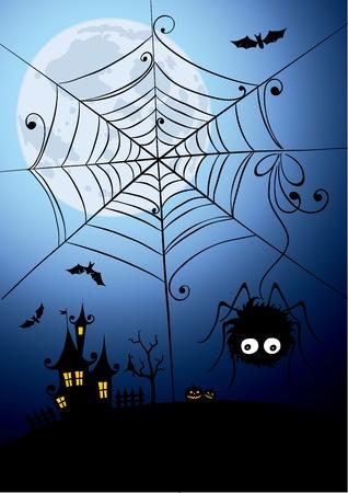 arachnophobia: Halloween background - a night spider