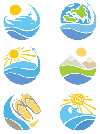 suns: A set of icons - Travel, Tourism and Leisure  Illustration