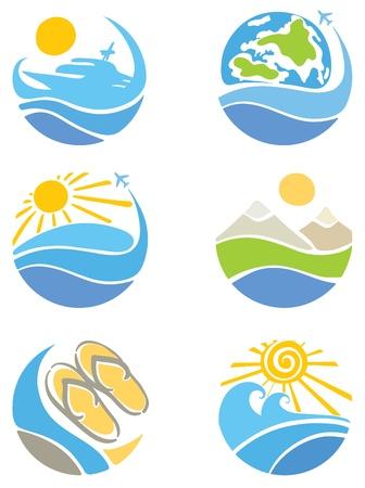 logo voyage: Un ensemble d'icônes - Voyage, tourisme et loisirs