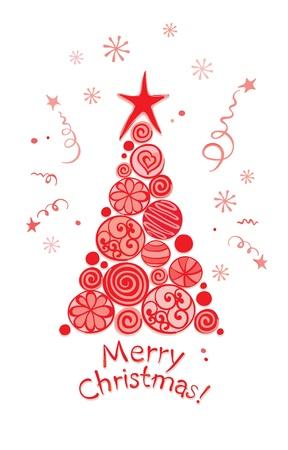 merry mood: christmas card -- abstract tree  Illustration