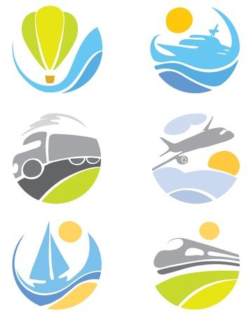 logo voyage: Collection d'icônes - le transport Illustration