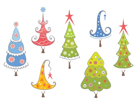 Funny collection of Christmas trees  Stock Vector - 11105539