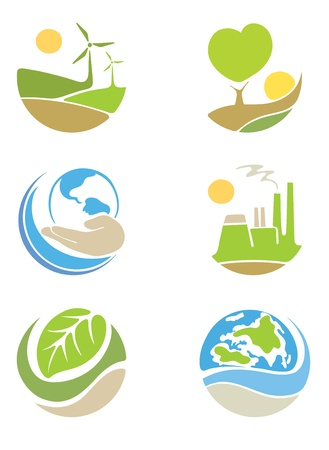 The logos on the theme 'ecology'  Vector
