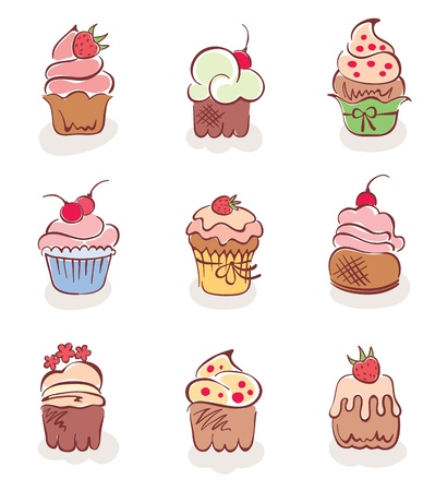 snoepjes: Een set van leuke taarten Stock Illustratie