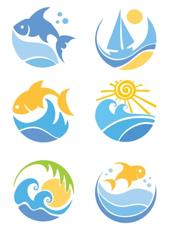 sun set: A set of icons - of fish and sea