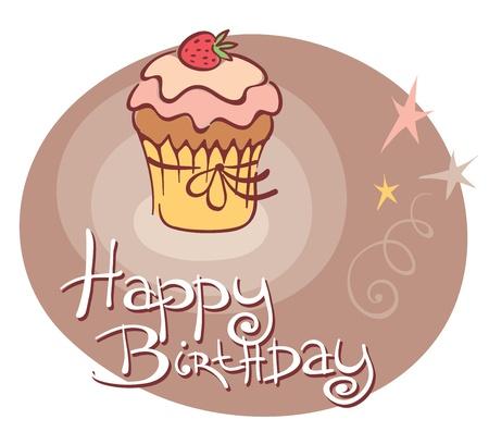 pastel feliz cumplea�os: Dulces, cumplea�os, Vectores