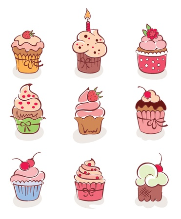 The collection - lovely cakes  Vector
