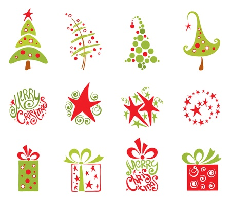 christmas tree set: Christmas collection  Illustration
