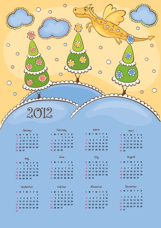 Calendar with the Dragon - 2012  Vector