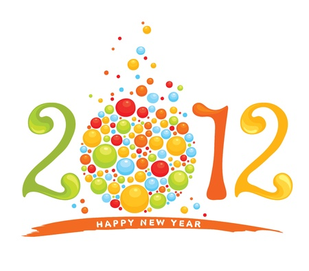 party poppers: New years background - 2012