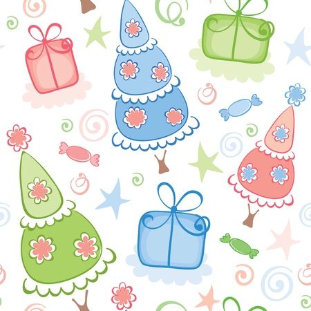 Christmas wrapping with funny trees  Stock Vector - 11463905