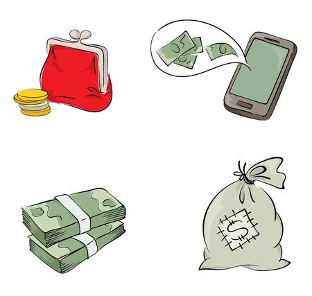 Colección de objetos - el dinero Ilustración de vector