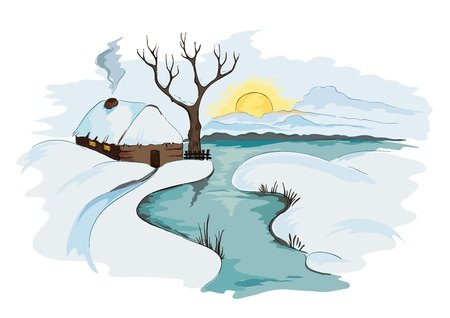 The village, a winter landscape  Vector