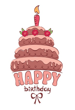 Chocolate cake - card  Vector