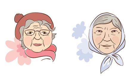 pensioen: Twee goede grootmoeder Stock Illustratie