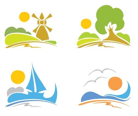 logotipo turismo: - Signos de verano, el mar, la naturaleza