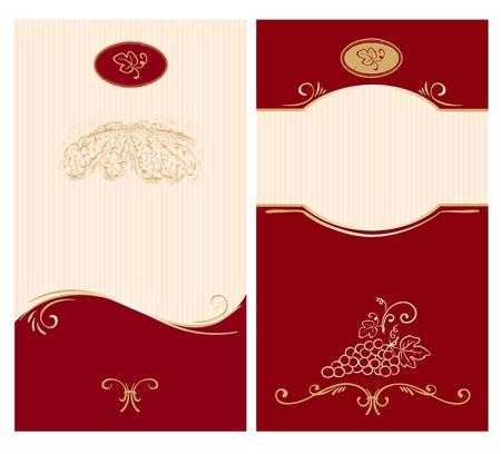 ワインのラベルのテンプレート  イラスト・ベクター素材