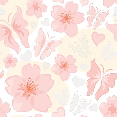 Patroon - bloem en vlinder Stock Illustratie