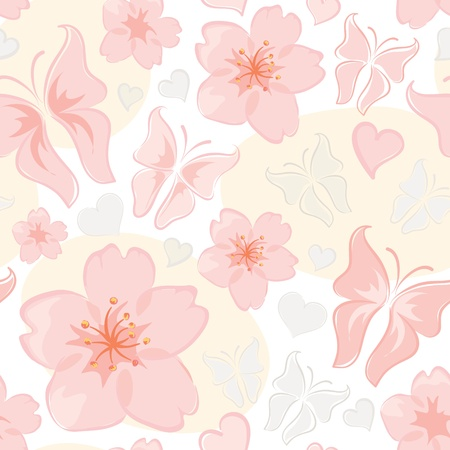 Pattern -- flower & butterfly  Vector