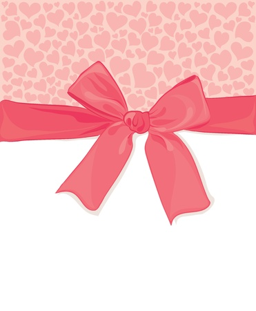 pink ribbon: Background with a bow and hearts  Illustration
