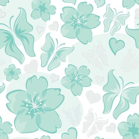 Turquoise bloemenachtergrond Stock Illustratie