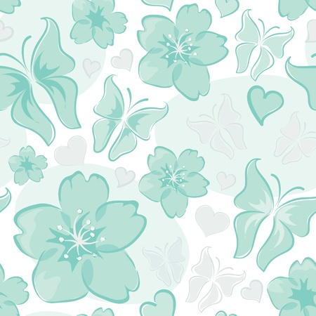 Turquoise floral background  Vector