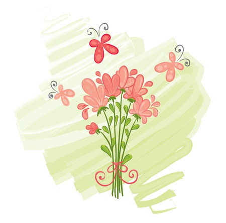 A bouquet of pink flowers  Vector