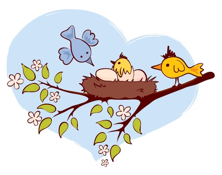 Birds and chicks  Vector