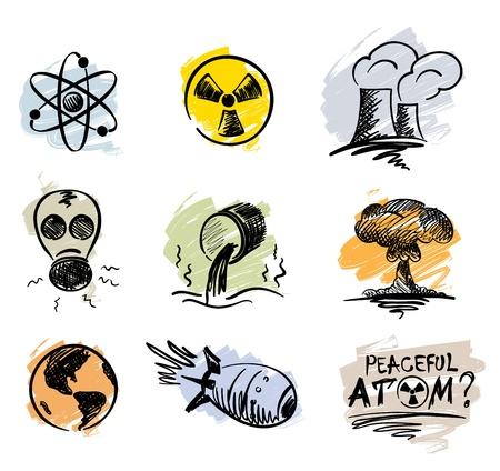 Set - de vreedzame atoom Stock Illustratie
