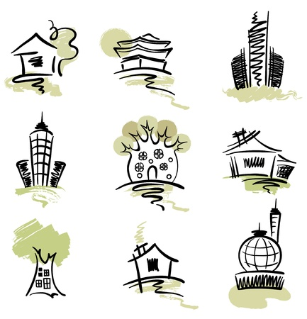 Collection of abstract buildings  Vector