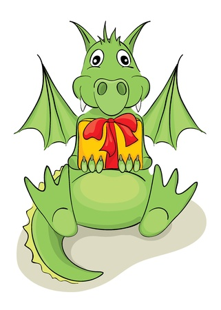 Funny dragon with a gift  Vector