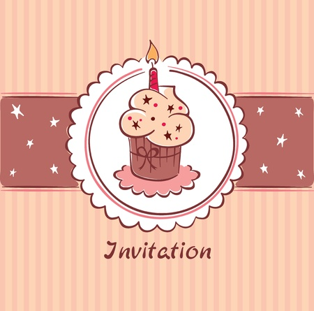 Postcard - Birthday Invitation  Vector